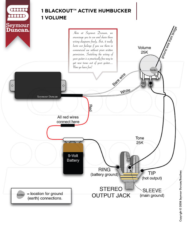 SeymourDuncan_1BO_1V guitar wiring guitar nucleus seymour duncan pickup wiring diagram at panicattacktreatment.co